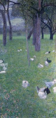 The Hen Painting - After The Rain by Gustav Klimt
