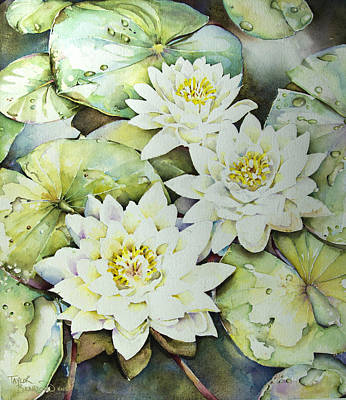 Lilly Pond Painting - After The Rain by Penny Taylor-Beardow