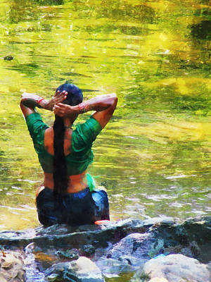 Impressionism Photos - After the River Bathing. Indian Woman. Impressionism by Jenny Rainbow