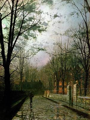 Moonlight Painting - After The Shower by John Atkinson Grimshaw