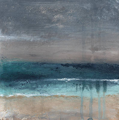 Teal Painting - After The Storm- Abstract Beach Landscape by Linda Woods
