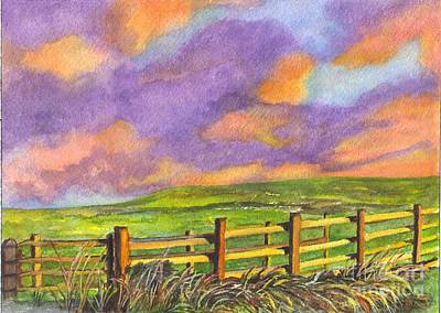 Split Rail Fence Drawing - After The Storm by Carol Wisniewski