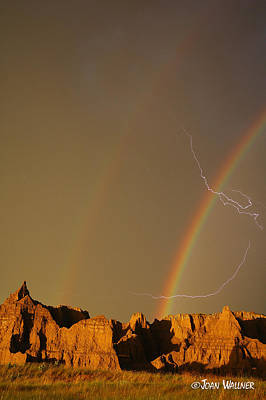 After The Storm - Lightning And Double Rainbow Art Print by Joan Wallner