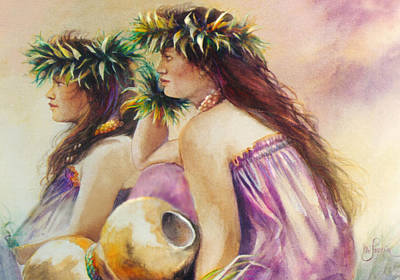 Painting - After Their Hula by Mary Lovein