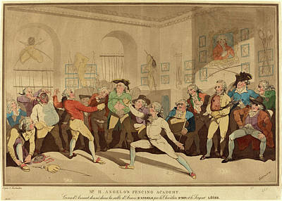 Handcolored Etching Drawing - After Thomas Rowlandson by Litz Collection