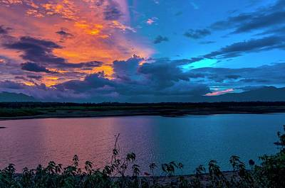 Grey Clouds Photograph - Afterglow Over A Lake by K Jayaram