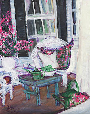 Painting - Afternoon At Emmanline's Front Porch by Helena Bebirian