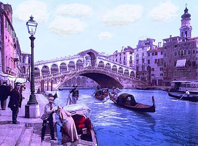 Afternoon At The Rialto Bridge Venice Italy Art Print by L Brown