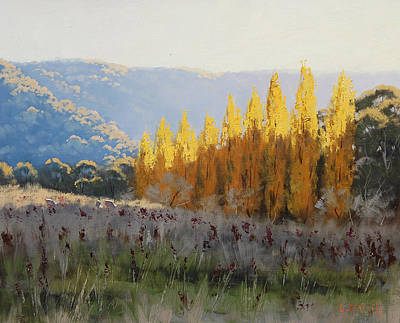 Sheep Grazing Painting - Afternoon Autumn Light by Graham Gercken