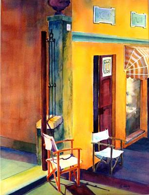 Empty Chairs Painting - Afternoon Break by Betty M M   Wong