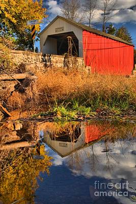 Photograph - Afternoon Covered Bridge Reflections by Adam Jewell