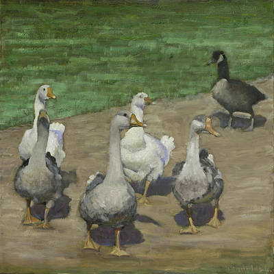 Art Print featuring the painting Afternoon Geese Walk by John Reynolds