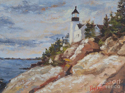 New England Lighthouse Painting - Afternoon Glow by Alicia Drakiotes