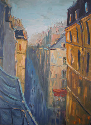 Oil Painting - Afternoon In Rue Leopold Bellan by NatikArt Creations