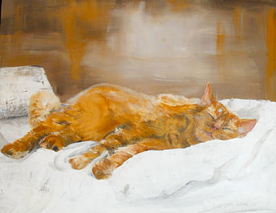 Moggy Painting - Afternoon Nap by Kate Lomax