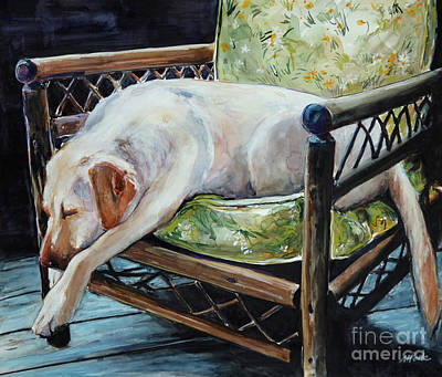 Yellow Labrador Retriever Painting - Afternoon Nap by Molly Poole