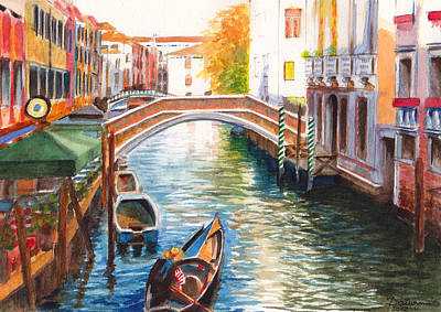 Afternoon On A Canal In Venice Italy Art Print by Dai Wynn