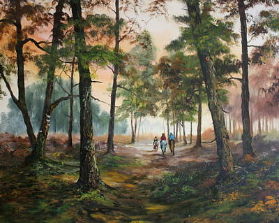 Jean Walker Painting - Afternoon Ride Through The Forest by Jean Walker