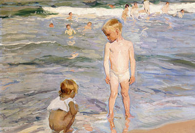 Skinny Dipping Painting - Afternoon Sun by Joaquin Sorolla y Bastida