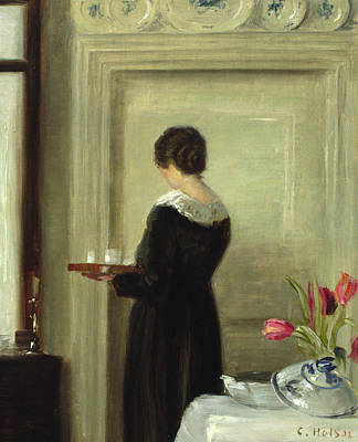 Red Tulip Painting - Afternoon Tea by Carl Holsoe