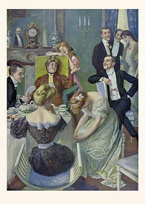 Teapot Drawing - Afternoon Tea, German, Tea, Lady, Ladies, Men, Table by Bluhm, Oscar (1867-1912), German