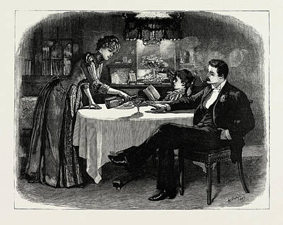 New Glasgow Drawing - Again She Filled Up His Glass by Litz Collection