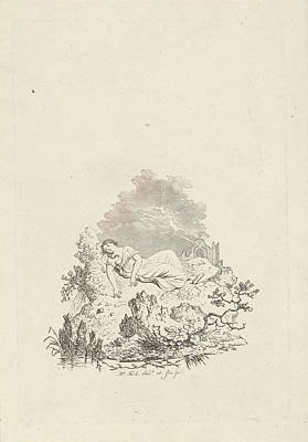 Against Rock Sleeping Woman, Hermanus Fock Art Print
