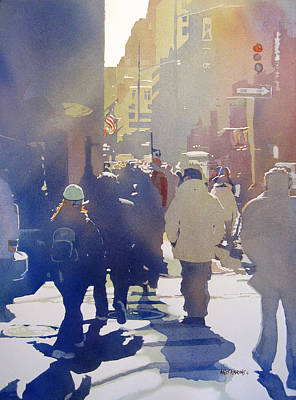 Crowd Scene Painting - Against The Light by Kris Parins