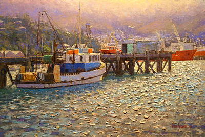 Knifework Painting - Against The Light Lyttleton Harbour by Terry Perham
