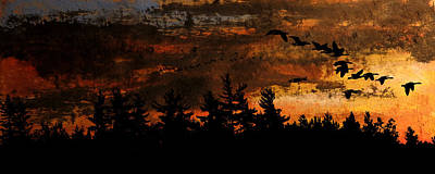 Canadian Geese Mixed Media - Against The Wind by R Kyllo