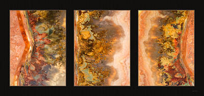 Photograph - Agate Triptych 2 by Leland D Howard