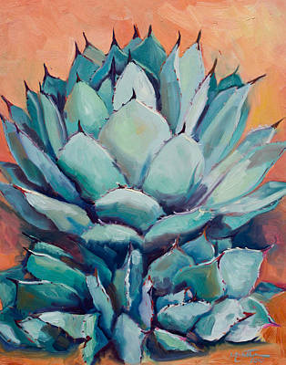 Cactus Painting - Agave With Pups by Athena  Mantle