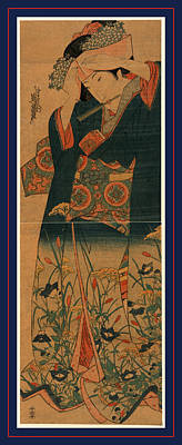 Ageboshi O Naosu Musume Art Print by Eisen, Keisai (ikeda Yoshinobu) (1790-1848), Japanese