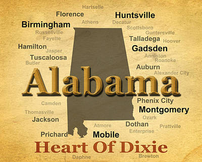 Aged Alabama State Pride Map Silhouette  Art Print by Keith Webber Jr