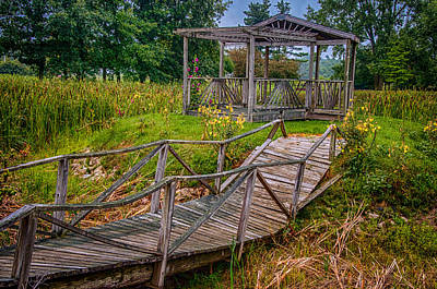 Photograph - Aged Bridge And Gazebo by Gene Sherrill