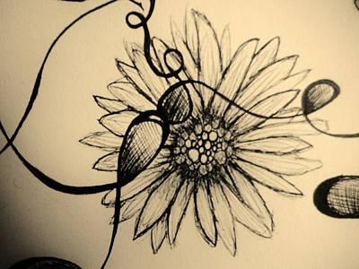 Lori Thompson Drawing - Aged Daisy by Lori Thompson