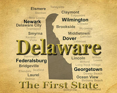 Photograph - Aged Delaware State Pride Map Silhouette  by Keith Webber Jr
