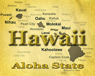 Photograph - Aged Hawaii State Pride Map Silhouette  by Keith Webber Jr