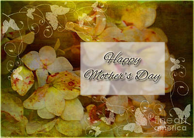 Photograph - Aged Hydrangeas Mother's Day Card by Debbie Portwood