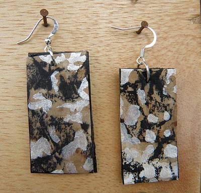 Silver Findings Jewelry - Aged Paper Rectangle Earrings 1 by M Brandl