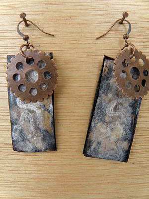 Silver Findings Jewelry - Aged Paper Rectangle Earrings 8 by M Brandl