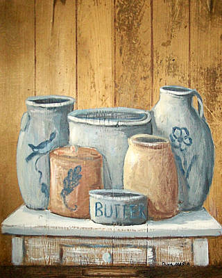 Crocks Painting - Aged Stoneware by Dona Maria Brown