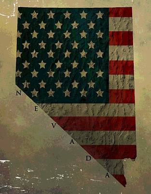 American Flag Mixed Media - Aged Topographic Map Of Nevada by Dan Sproul