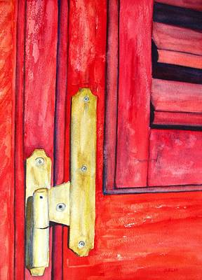 Painting - Aged Window Shutter Hinge by CarlinArt Watercolor