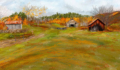 Autumn Scene Painting - Aged With Character-farm Life by Lourry Legarde