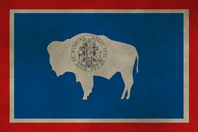 Bison Mixed Media - Aged Wyoming State Flag by Dan Sproul