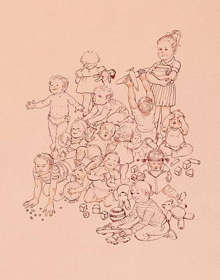 Drawing - Ages Of Childhood by Michele Myers