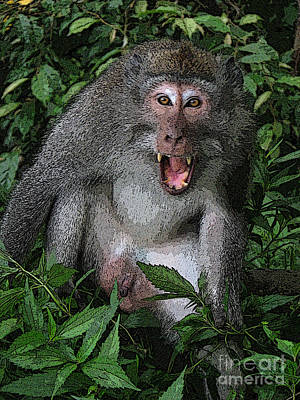 Art Print featuring the photograph  Aggressive Monkey From Bali by Sergey Lukashin