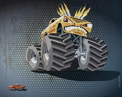 Monster Truck Drawing - Aggressive Monster Truck Grunge Color by Frank Ramspott