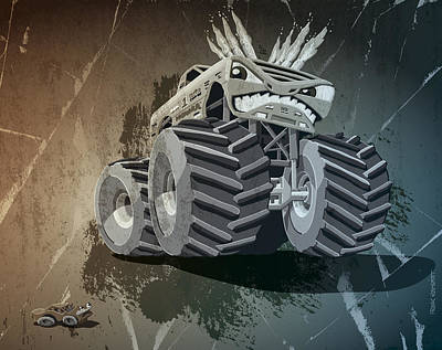 Truck Drawing - Aggressive Monster Truck Grunge by Frank Ramspott